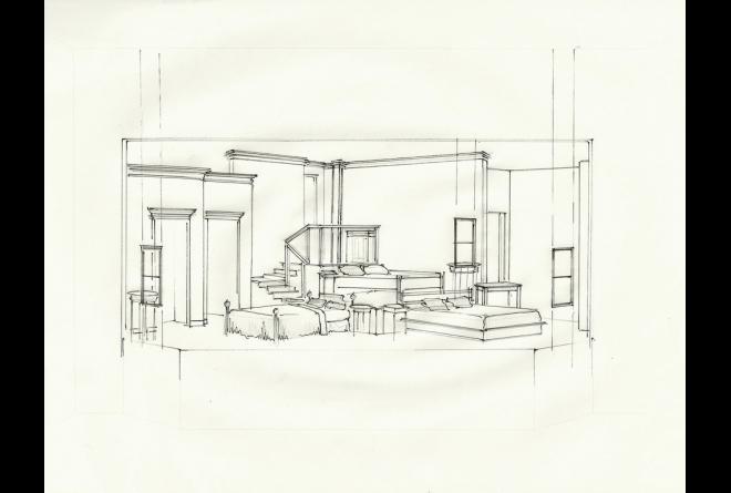Bedroom Farce, Perspective Sketch